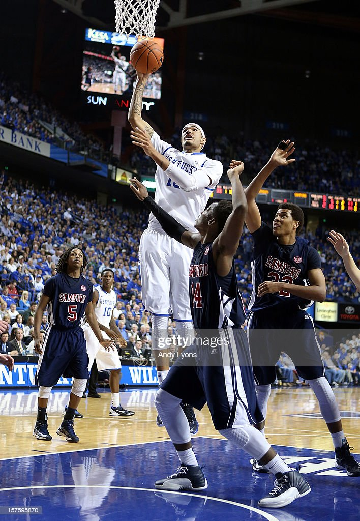 Willie Cauley-Stein #15 of the Kentucky Wildcats shoots the ball during the game against the Samford Bulldogs at Rupp Arena on December 4, 2012 in Lexington, Kentucky. Kentucky won 88-56.