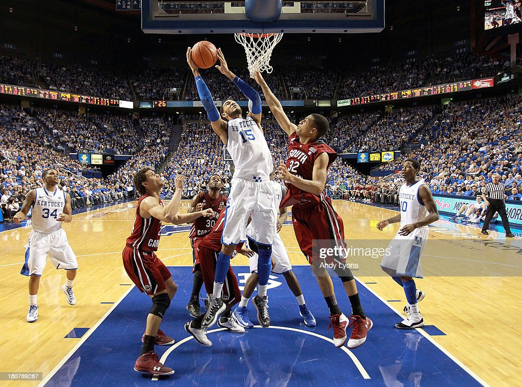 Willie Cauley-Stein #15 of the Kentucky Wildcats shoots the ball during the game against the South Carolina Gamecocks at Rupp Arena on February 5, 2013 in Lexington, Kentucky.
