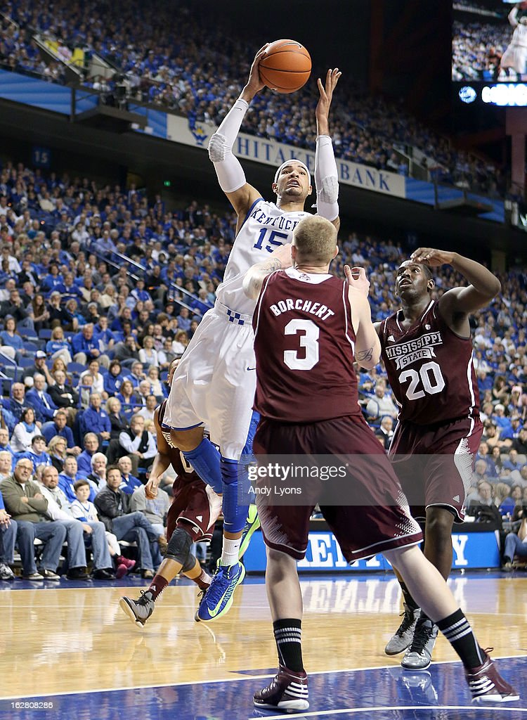 Willie Cauley-Stein #15 of the Kentucky Wildcats shoots the ball during the game against the Mississippi State Bulldogs at Rupp Arena on February 27, 2013 in Lexington, Kentucky.