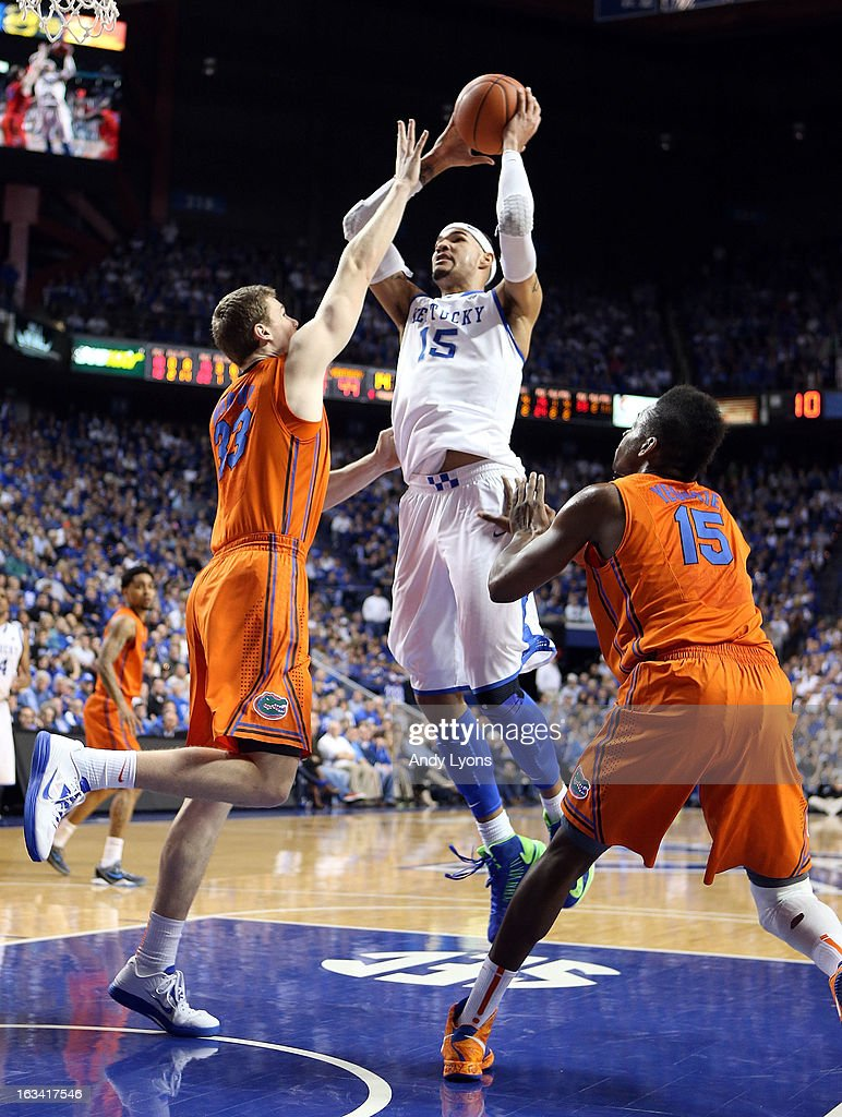 Willie Cauley-Stein #15 of the Kentucky Wildcats shoots the ball during the game against the Florida Gators at Rupp Arena on March 9, 2013 in Lexington, Kentucky.