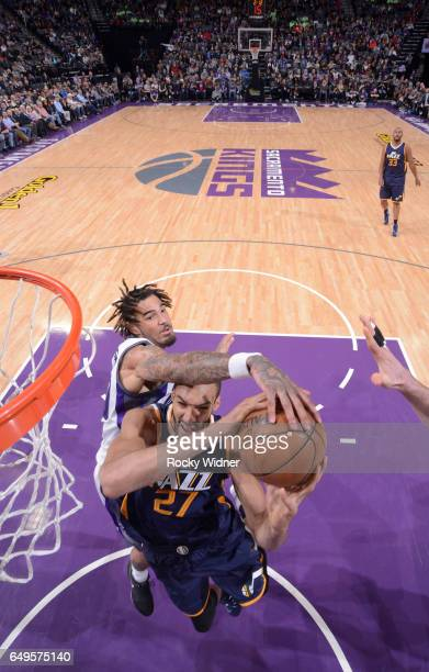 Willie CauleyStein of the Sacramento Kings blocks the shot of Rudy Gobert of the Utah Jazz on March 5 2017 at Golden 1 Center in Sacramento...