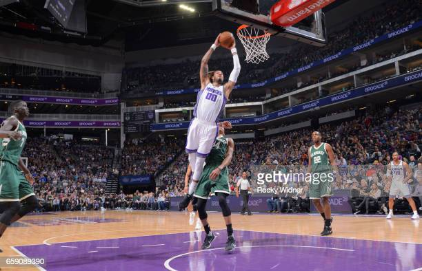 Willie CauleyStein of the Sacramento Kings dunks against the Milwaukee Bucks on March 22 2017 at Golden 1 Center in Sacramento California NOTE TO...