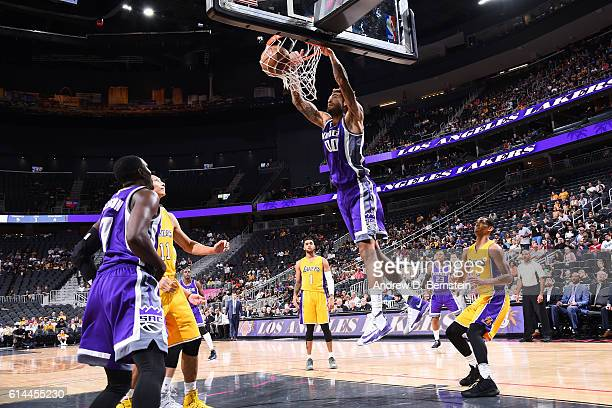 Willie CauleyStein of the Sacramento Kings dunks against the Los Angeles Lakers on October 13 2016 at the TMobile Arena in Las Vegas Nevada NOTE TO...