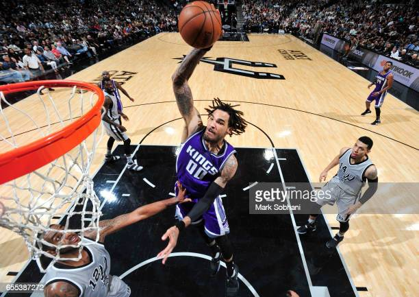 Willie CauleyStein of the Sacramento Kings dunks against the San Antonio Spurs during the game on March 19 2017 at the ATT Center in San Antonio...
