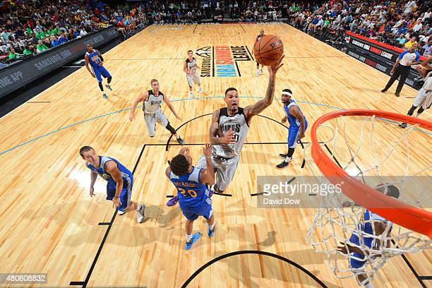 Willie CauleyStein of the Sacramento Kings goes to the basket against the Golden State Warriors on July 13 2015 at the Thomas Mack Center in Las...