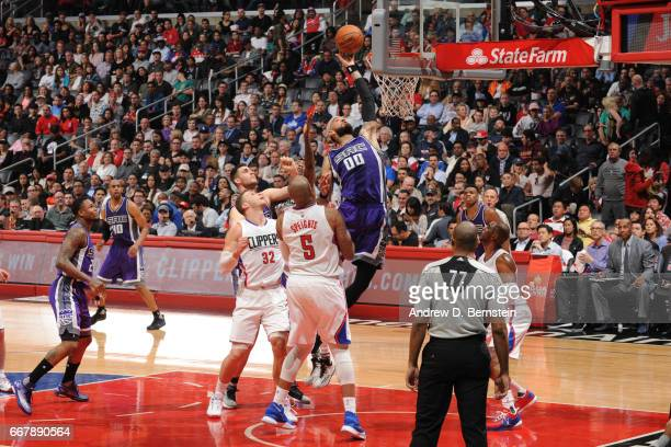 Willie CauleyStein of the Sacramento Kings goes to the basket against the Los Angeles Clippers on April 12 2017 at STAPLES Center in Los Angeles...
