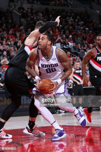 Willie CauleyStein of the Sacramento Kings goes to the basket against the Portland Trail Blazers on November 18 2017 at the Moda Center in Portland...