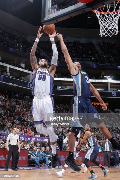Willie CauleyStein of the Sacramento Kings grabs the rebound during a game against the Memphis Grizzlies on March 27 2017 at Golden 1 Center in...