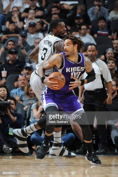 Willie CauleyStein of the Sacramento Kings handles the ball against the San Antonio Spurs during the game on March 19 2017 at the ATT Center in San...