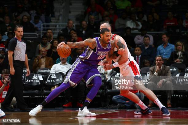 Willie CauleyStein of the Sacramento Kings handles the ball against the Washington Wizards on November 13 2017 at Capital One Arena in Washington DC...