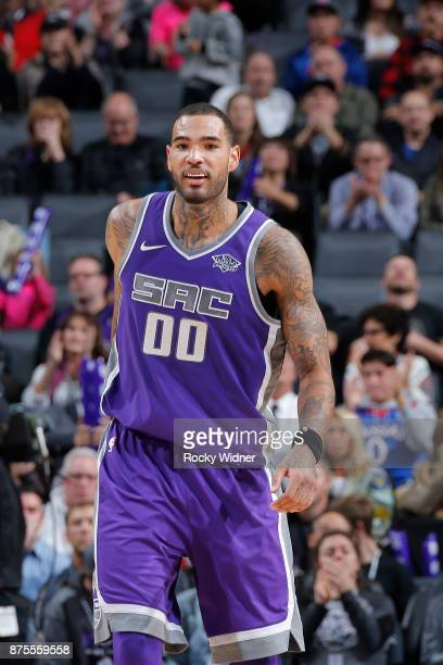 Willie CauleyStein of the Sacramento Kings reacts during the game against the Portland Trail Blazers on November 17 2017 at Golden 1 Center in...