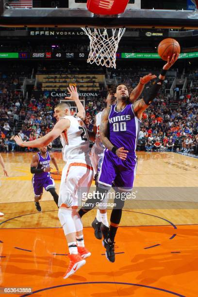 Willie CauleyStein of the Sacramento Kings shoots a lay up during the game against the Phoenix Suns on March 15 2017 at US Airways Center in Phoenix...