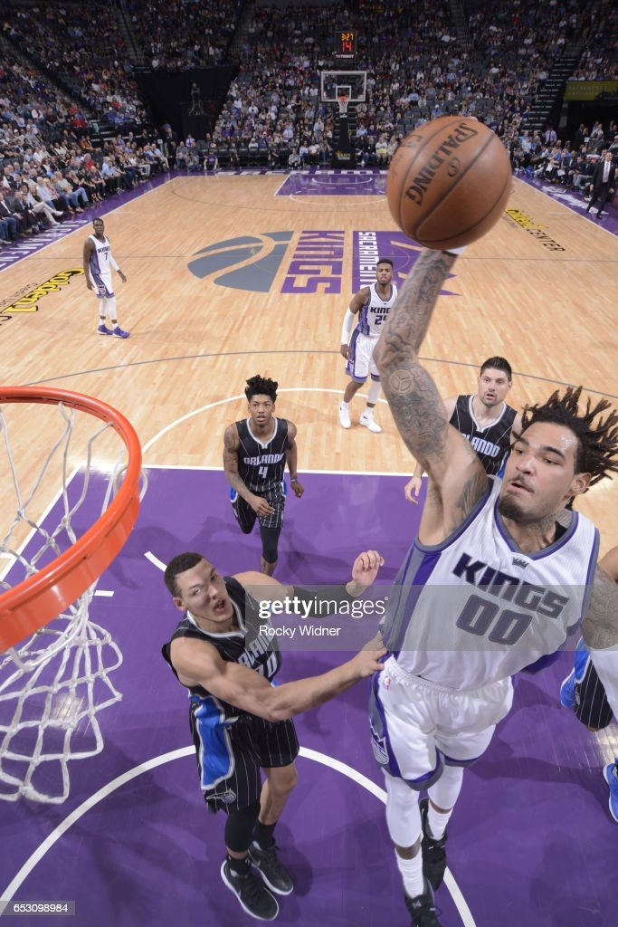 Willie Cauley-Stein #00 of the Sacramento Kings shoots the ball against the Orlando Magic on March 13, 2017 at Golden 1 Center in Sacramento, California.