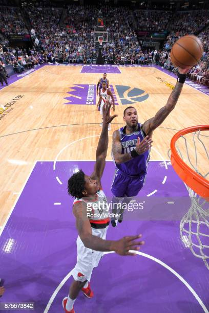 Willie CauleyStein of the Sacramento Kings shoots the ball against the Portland Trail Blazers on November 17 2017 at Golden 1 Center in Sacramento...