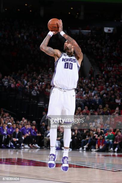 Willie CauleyStein of the Sacramento Kings shoots the ball against the Portland Trail Blazers on November 18 2017 at the Moda Center in Portland...