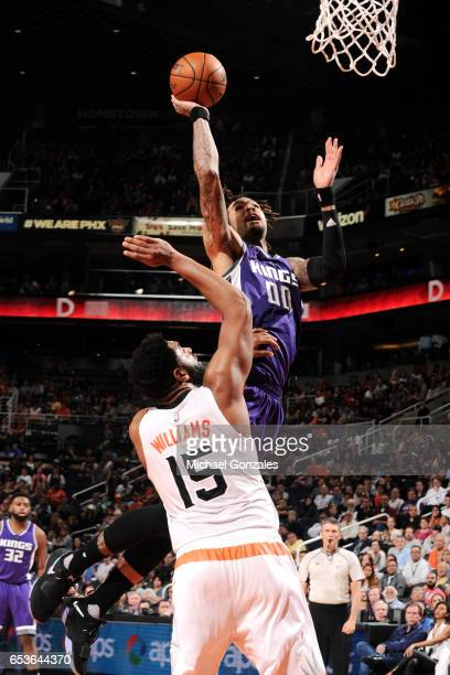 Willie CauleyStein of the Sacramento Kings shoots the ball during the game against the Phoenix Suns on March 15 2017 at US Airways Center in Phoenix...