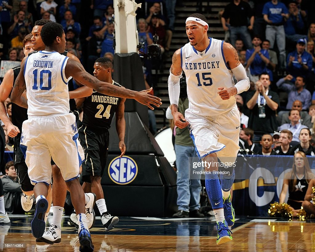Willie Cauley-Stein #15 of the University of Kentucky Wildcats and teammate <a gi-track='captionPersonalityLinkClicked' href=/galleries/search?phrase=Archie+Goodwin&family=editorial&specificpeople=9086088 ng-click='$event.stopPropagation()'>Archie Goodwin</a> #10 react after a score against the Vanderbilt Commodores during the Quarterfinals of the SEC Tournament at the Bridgestone Arena on March 15, 2013 in Nashville, Tennessee.