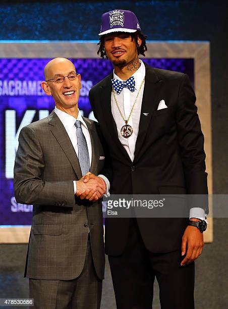 Willie CauleyStein poses with Commissioner Adam Silver after being selected sixth overall by the Sacramento Kings in the First Round of the 2015 NBA...
