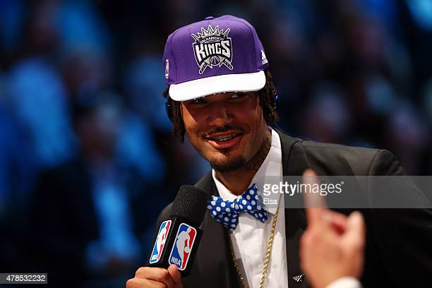 Willie CauleyStein speaks to the media after being selected sixth overall by the Sacramento Kings in the First Round of the 2015 NBA Draft at the...