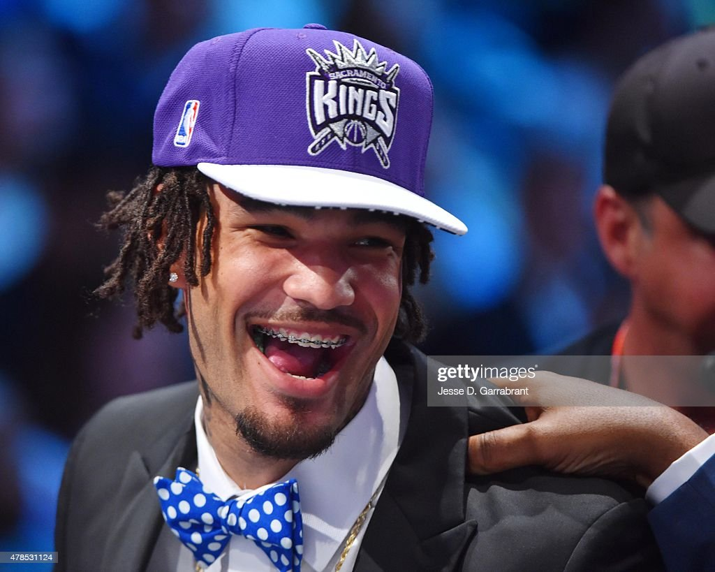 <a gi-track='captionPersonalityLinkClicked' href=/galleries/search?phrase=Willie+Cauley-Stein&family=editorial&specificpeople=9854040 ng-click='$event.stopPropagation()'>Willie Cauley-Stein</a> the 6th pick overall in the 2015 NBA Draft by the Sacramento Kings speaks to the media during the 2015 NBA Draft at the Barclays Center on June 25, 2015 in the Brooklyn borough of New York City.