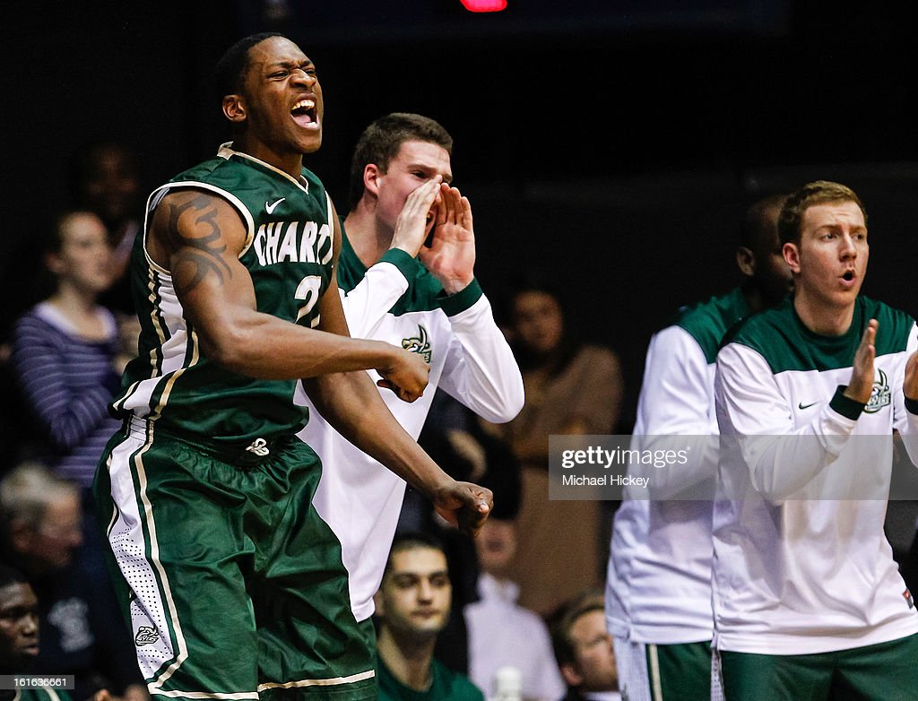 Willie Clayton #21 of the Charlotte 49ers celebrates in the closing minutes against the Butler Bulldogs at Hinkle Fieldhouse on February 13, 2013 in Indianapolis, Indiana. Charlotte defeated Butler 71-67.