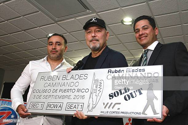 Willie Cortes producer of the concert Ruben Blades and Eduardo Cajina General Manager of Coliseo Jose M Agrelot as part of the Ruben Blades Press...