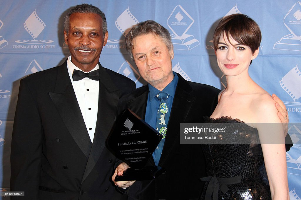 Willie D. Burton, <a gi-track='captionPersonalityLinkClicked' href=/galleries/search?phrase=Jonathan+Demme&family=editorial&specificpeople=206357 ng-click='$event.stopPropagation()'>Jonathan Demme</a> and <a gi-track='captionPersonalityLinkClicked' href=/galleries/search?phrase=Anne+Hathaway+-+Schauspielerin&family=editorial&specificpeople=11647173 ng-click='$event.stopPropagation()'>Anne Hathaway</a> attend the 49th annual Cinema Audio Society Awards held at Millennium Biltmore Hotel on February 16, 2013 in Los Angeles, California.