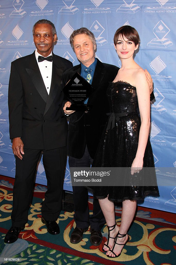 Willie D. Burton, <a gi-track='captionPersonalityLinkClicked' href=/galleries/search?phrase=Jonathan+Demme&family=editorial&specificpeople=206357 ng-click='$event.stopPropagation()'>Jonathan Demme</a> and <a gi-track='captionPersonalityLinkClicked' href=/galleries/search?phrase=Anne+Hathaway+-+Actress&family=editorial&specificpeople=11647173 ng-click='$event.stopPropagation()'>Anne Hathaway</a> attend the 49th annual Cinema Audio Society Awards held at Millennium Biltmore Hotel on February 16, 2013 in Los Angeles, California.