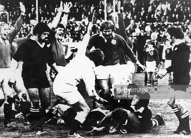 Willie Duggan scoring the British Lions' only try in a match they lost to the New Zealand All Blacks 197 at Dunedin New Zealand 12th August 1977 The...
