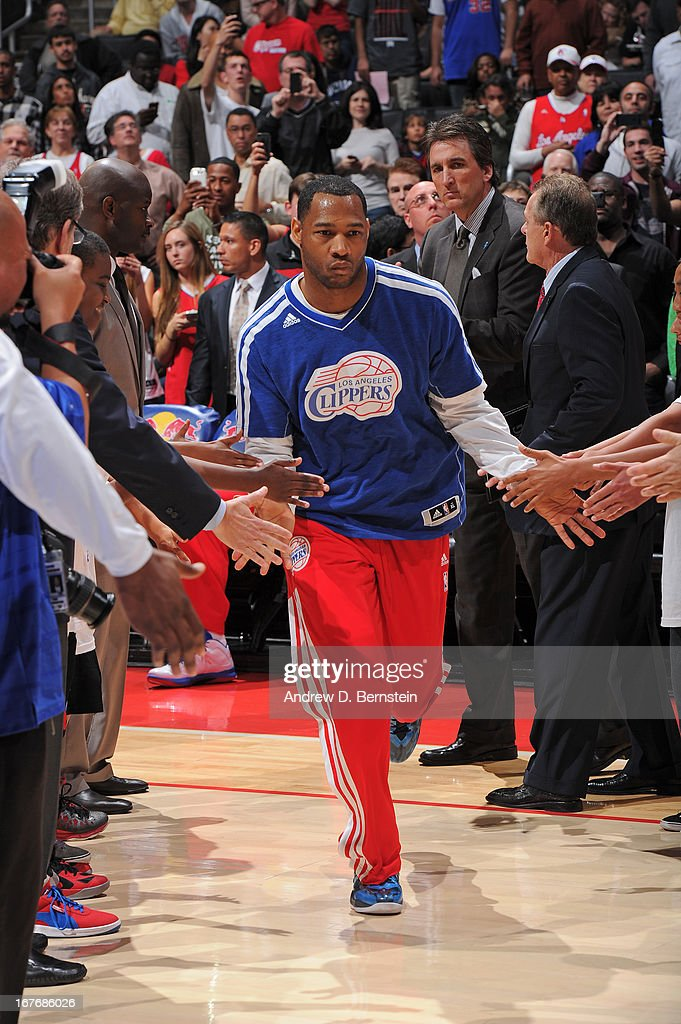 <a gi-track='captionPersonalityLinkClicked' href=/galleries/search?phrase=Willie+Green&family=editorial&specificpeople=201653 ng-click='$event.stopPropagation()'>Willie Green</a> #34 of the Los Angeles Clippers is introduced before the game against the Indiana Pacers at Staples Center on April 1, 2013 in Los Angeles, California.