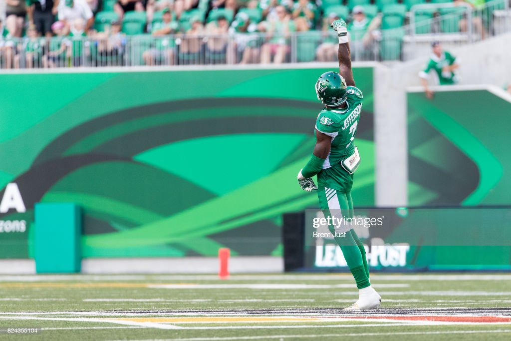 Willie Jefferson #7 of the Saskatchewan Roughriders celebrates after a sack in the game between the Toronto Argonauts and Saskatchewan Roughriders at Mosaic Stadium on July 29, 2017 in Regina, Canada.