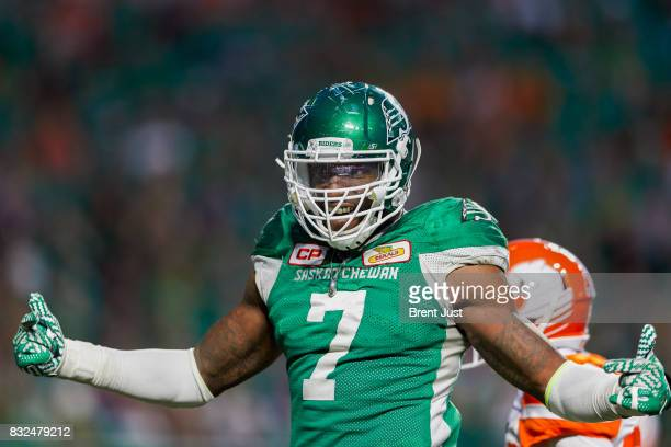 Willie Jefferson of the Saskatchewan Roughriders celebrates after the Roughriders win the game by a score of 418 over the BC Lions at Mosaic Stadium...