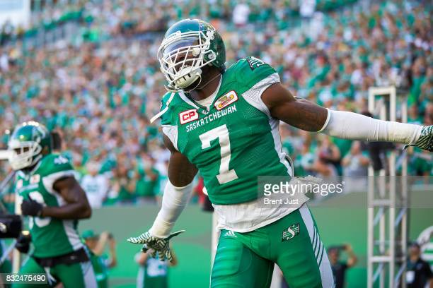 Willie Jefferson of the Saskatchewan Roughriders takes the field for the game between the BC Lions and the Saskatchewan Roughriders at Mosaic Stadium...