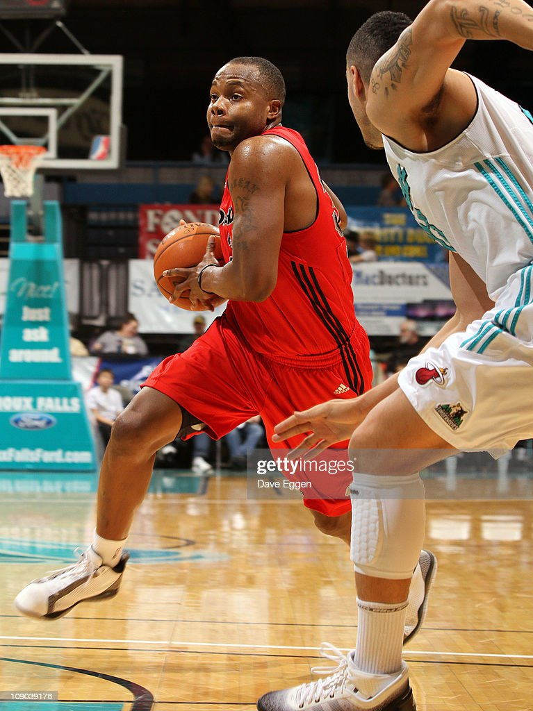 Willie Jenkins #34 of the Idaho Stampede drives to the basket against Sean Marshall #23 of the Sioux Falls Skyforce in the first half of their game February 12, 2011 at the Sioux Falls Arena in Sioux Falls, South Dakota.