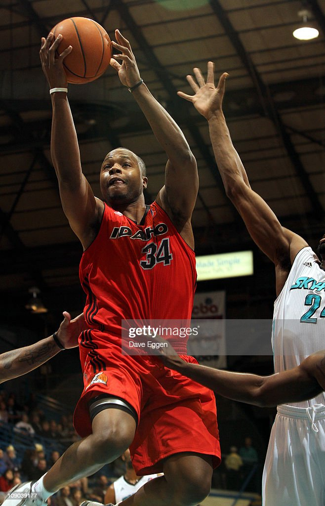 Willie Jenkins #34 of the Idaho Stampede drives to the basket against Raymond Sykes #24 of the Sioux Falls Skyforce in the first half of their game February 12, 2011 at the Sioux Falls Arena in Sioux Falls, South Dakota.