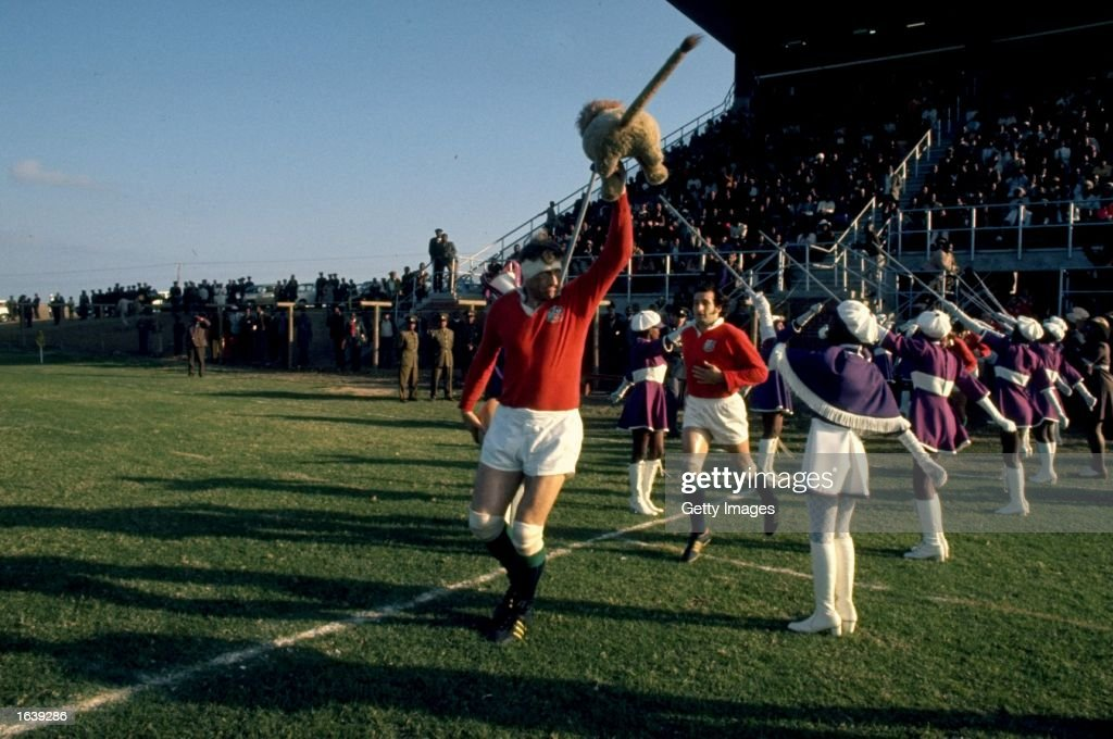 Willie John McBride leads out the British Lions during the Rugby Lions tour of South Africa South Africa Mandatory Credit Allsport UK /Allsport