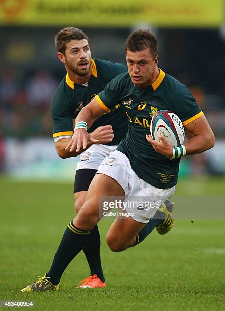 Willie le Roux and Handre Pollard of South Africa during The Castle Lager Rugby Championship 2015 match between South Africa and Argentina at...