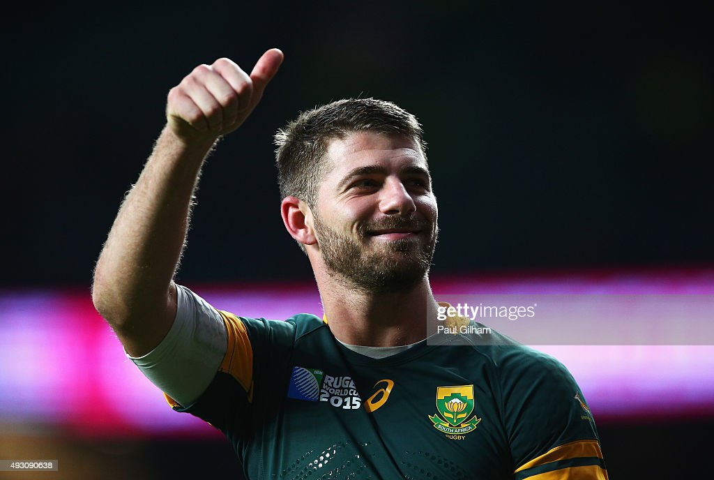 <a gi-track='captionPersonalityLinkClicked' href=/galleries/search?phrase=Willie+Le+Roux&family=editorial&specificpeople=9029846 ng-click='$event.stopPropagation()'>Willie Le Roux</a> of South Africa gives a thumbs up signal during the 2015 Rugby World Cup Quarter Final match between South Africa and Wales at Twickenham Stadium on October 17, 2015 in London, United Kingdom.