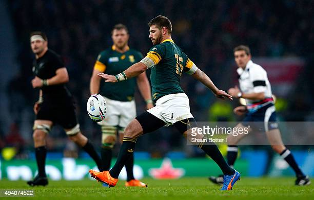 Willie Le Roux of South Africa kicks the ball during the 2015 Rugby World Cup Semi Final match between South Africa and New Zealand at Twickenham...