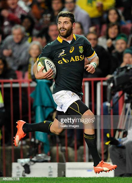 Willie le Roux of South Africa on his way to score a try during the match between South Africa and World VX at DHL Newlands Stadium on July 11 2015...