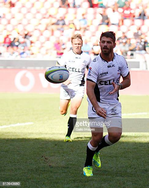 Willie le Roux of the Cell C Sharks passes the ball during the 2016 Super Rugby match between Southern Kings and Cell C Sharks at Nelson Mandela Bay...