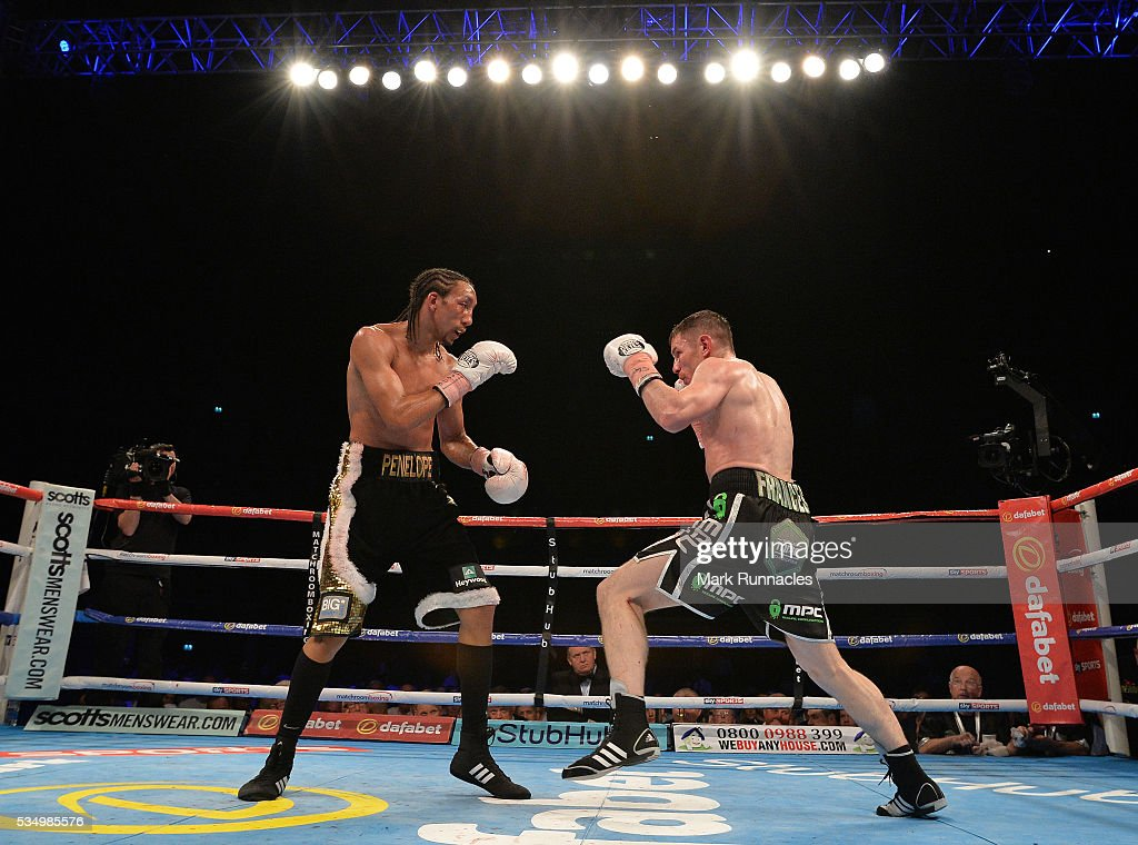 <a gi-track='captionPersonalityLinkClicked' href=/galleries/search?phrase=Willie+Limond&family=editorial&specificpeople=2748488 ng-click='$event.stopPropagation()'>Willie Limond</a> (Black and Green Shorts) and Tyrone Nurse (Black and Gold Shorts) during the British Super Lightweight Championship fight ahead of the WBA world super-lightweight title fight between Ricky Burns and Michele Di Rocco at The SSE Hydro on May 28, 2016 in Glasgow, Scotland.