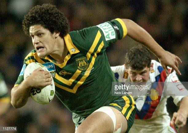 Willie Mason of the Kangaroos makes a break during the Rugby League Test match between the Australian Kangaroos and the Great Britain and Irish Lions...
