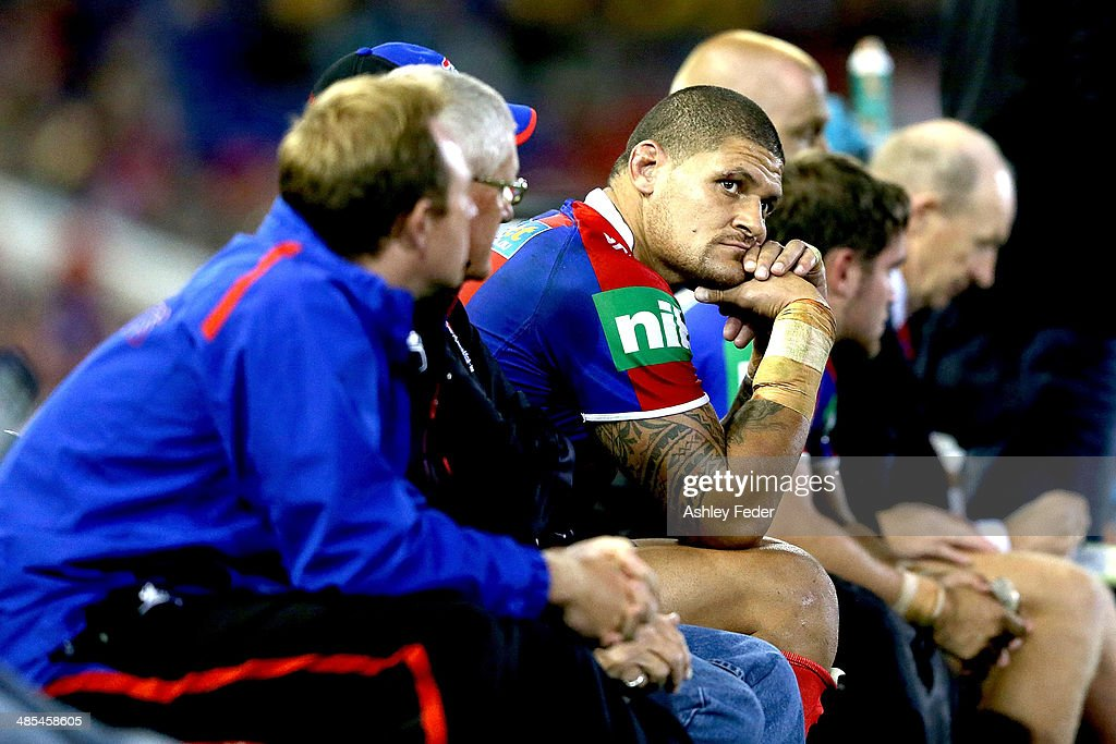 Willie Mason of the Knights on the bench during the round seven NRL match between the Newcastle Knights and the Brisbane Broncos at Hunter Stadium on April 18, 2014 in Newcastle, Australia.