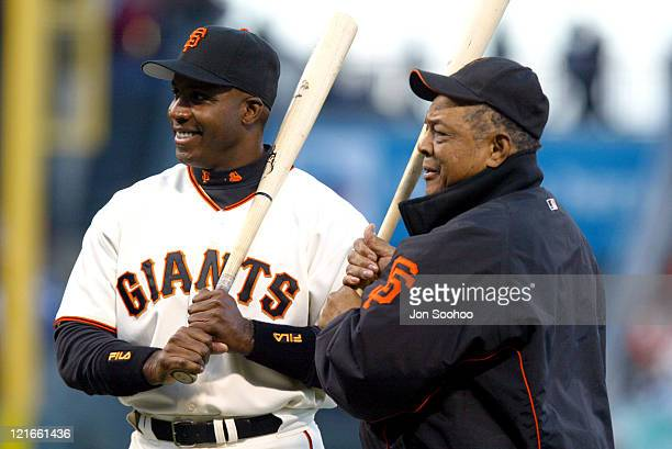 Willie Mays and Barry Bonds during a ceremony for Bond's home run 660 that tied him with Mays prior to the game against the Dodgers in SBC Park in...