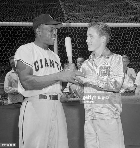 Willie Mays and soap Box Derby winner Richard Kemp of Los Angeles is shown here at the Polo Grounds