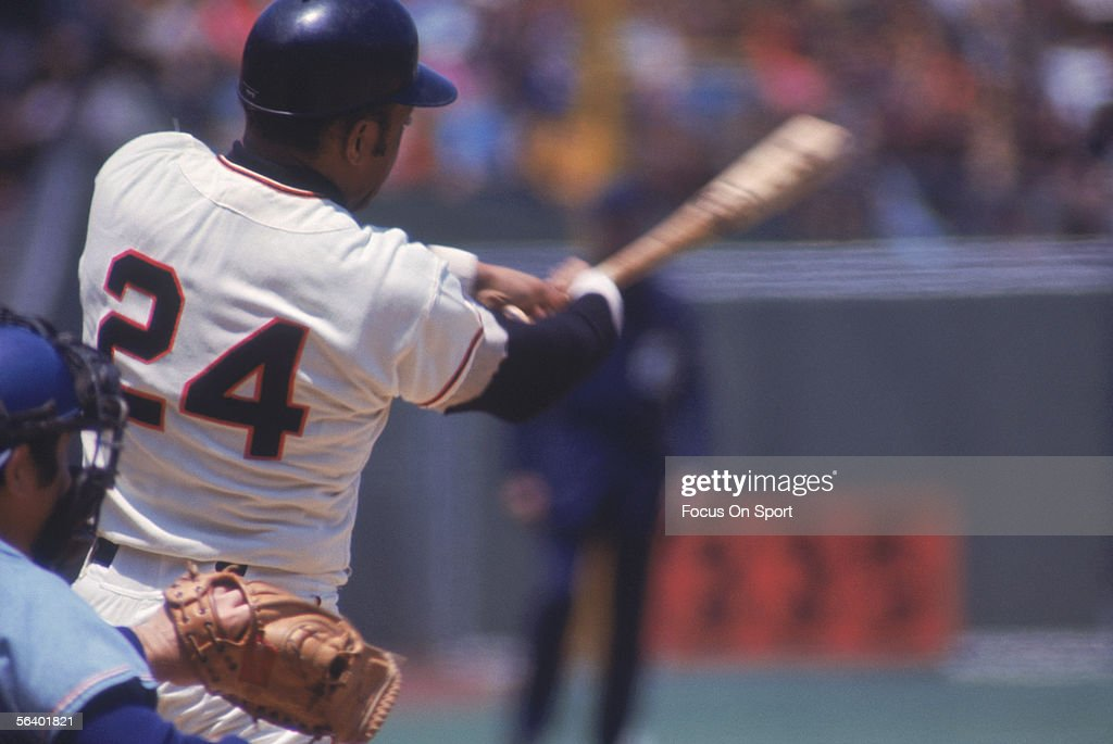 Willie Mays of the San Francisco Giants swings during a game at Candlestick Park circa the 1970's in San Francisco California
