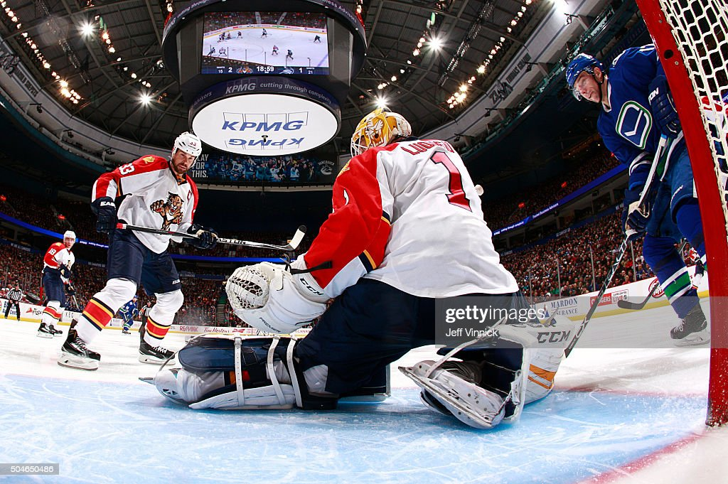 Willie Mitchell #33 of the Florida Panthers and Radim Vrbata #17 of the Vancouver Canucks look on as Roberto Luongo #1 of the Florida Panthers makes a save during their NHL game against the Florida Panther at Rogers Arena January 11, 2016 in Vancouver, British Columbia, Canada. Vancouver won 3-2.
