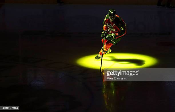 Willie Mitchell of the Florida Panthers warms up during a game against the Arizona Coyotes at BBT Center on October 30 2014 in Sunrise Florida