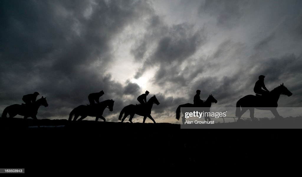 Willie Mullins string on the gallops at Cheltenham racecourse on March 11, 2013 in Cheltenham, England.